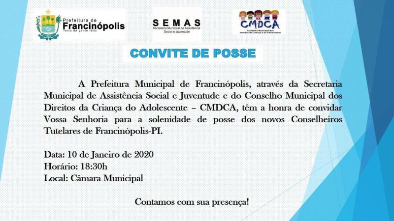 Prefeitura de Francinópolis convida a todos para posse do Conselho Tutelar
