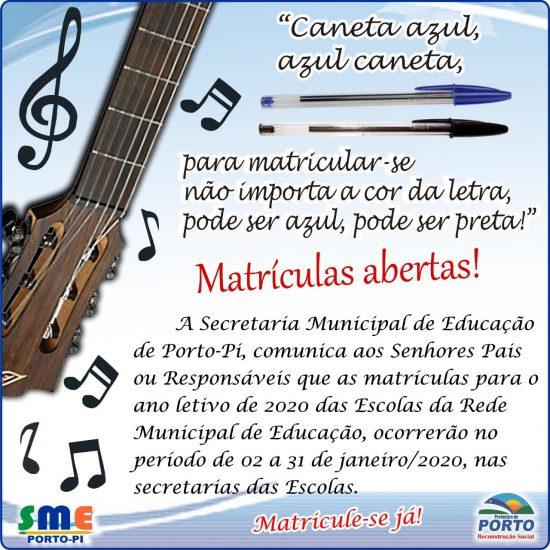 Matrículas abertas nas escolas da rede municipal de Educação de Porto