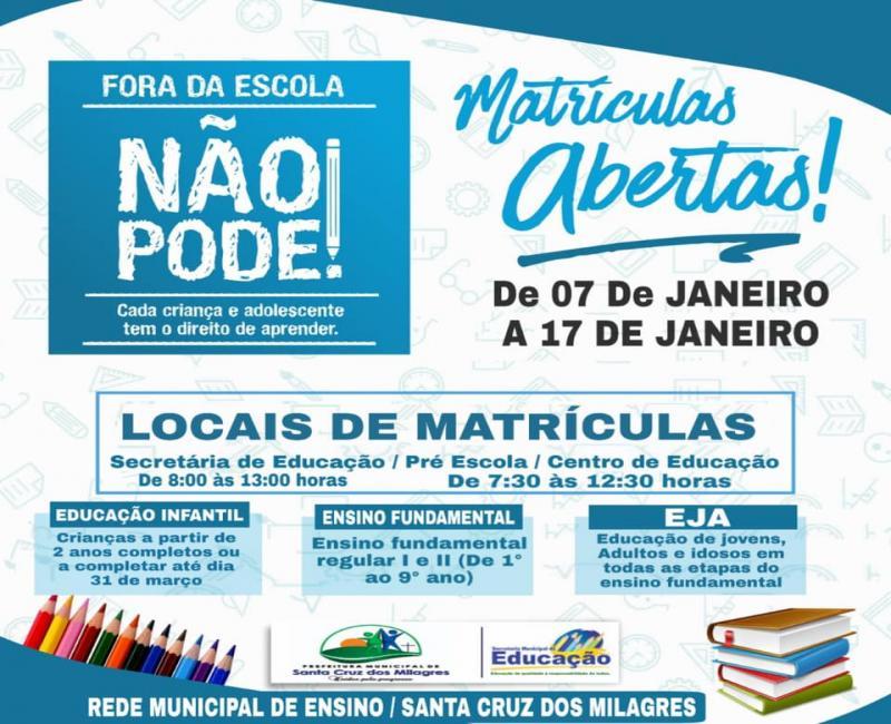 Matrículas abertas nas escolas municipais de Santa Cruz dos Milagres