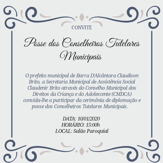 Posse dos Conselheiros Tutelares será sexta-feira em Barra D'Alcântara