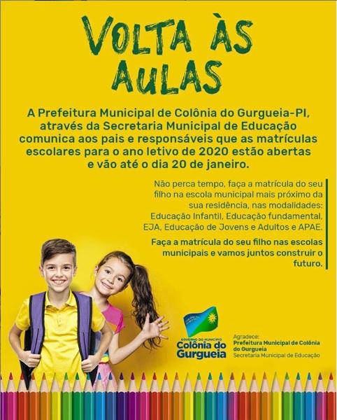 Matrículas abertas nas escolas municipais de Colônia do Gurgueia