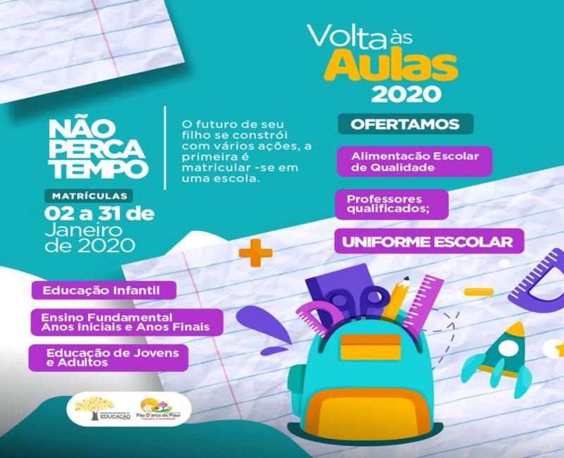 Matrículas para alunos da rede municipal de Pau D'arco-PI seguem até dia 31