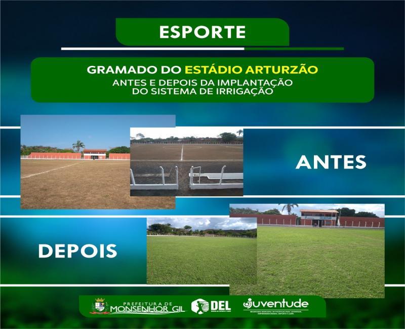 Monsenhor Gil | Prefeitura implanta sistema de irrigação no estádio Artuzão