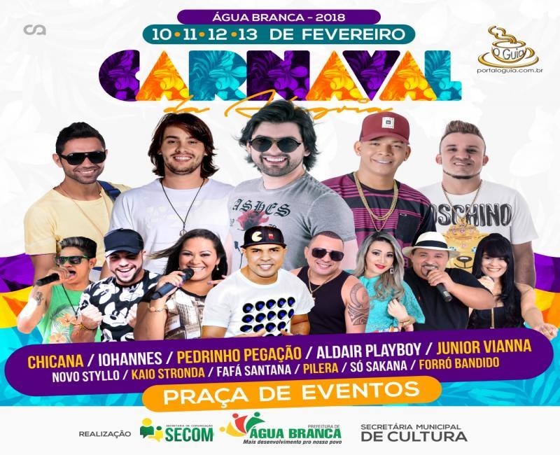 Prefeitura de Água Branca divulga a programação completa do Carnaval da Alegria 2018