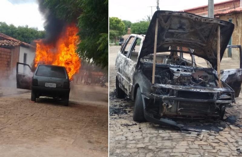 Carro fica destruído após pegar fogo no Piauí