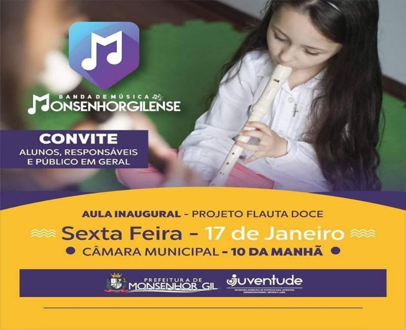 Convite para inscritos do curso musical 'Iniciação à Flauta Doce'