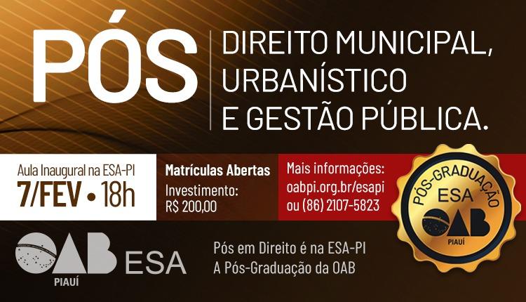Inscrições abertas para Pós-Graduação em Direito Municipal
