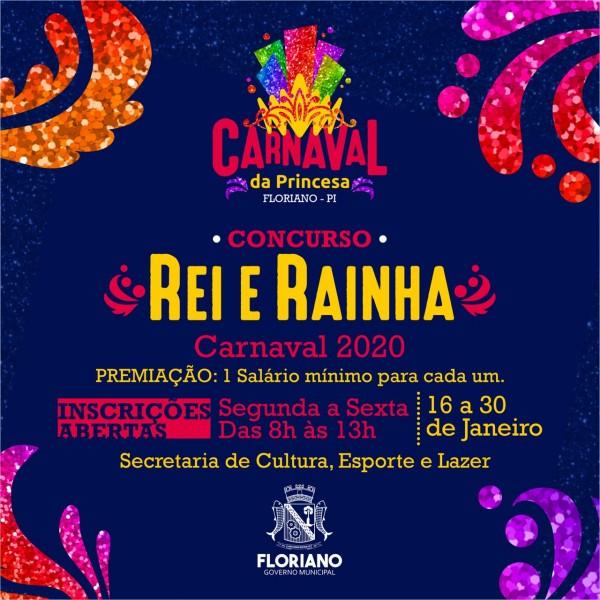 Concurso Rei e Rainha do Carnaval de Floriano está com inscrições abertas