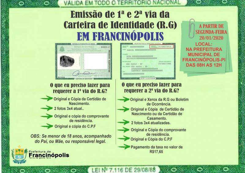 Prefeitura de Francinópolis oferece serviços de emissão de RG