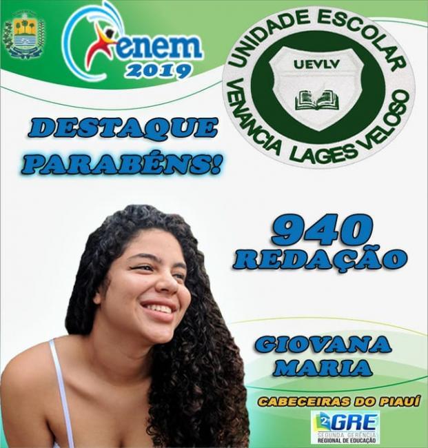 Aluna da U. E. Venância Lages Veloso obtém 940 pontos na redação do Enem