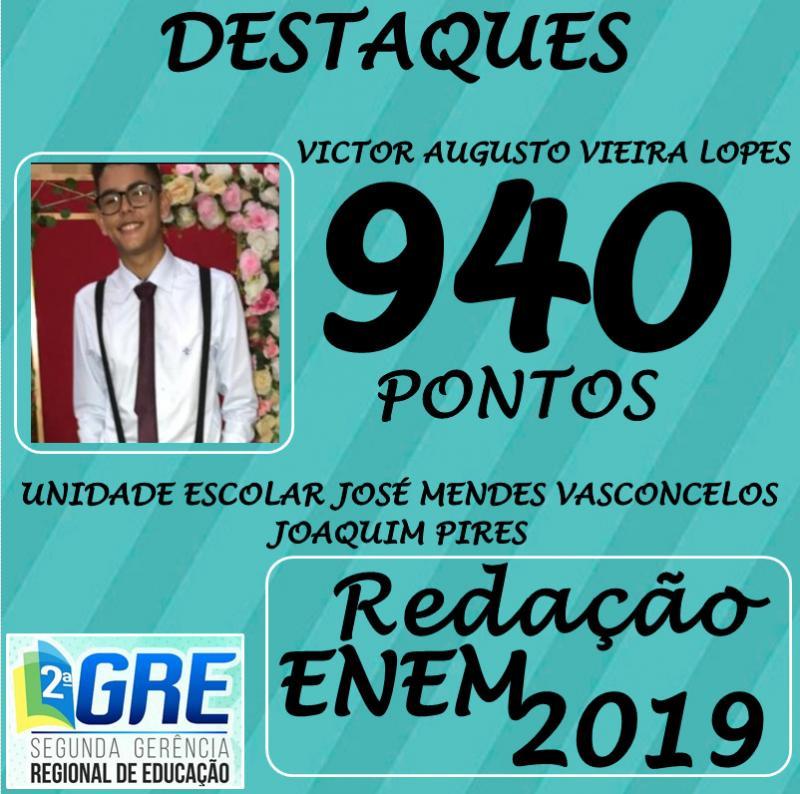 Joaquim Pires | Alunos da rede pública de ensino obtiveram notas altíssimas