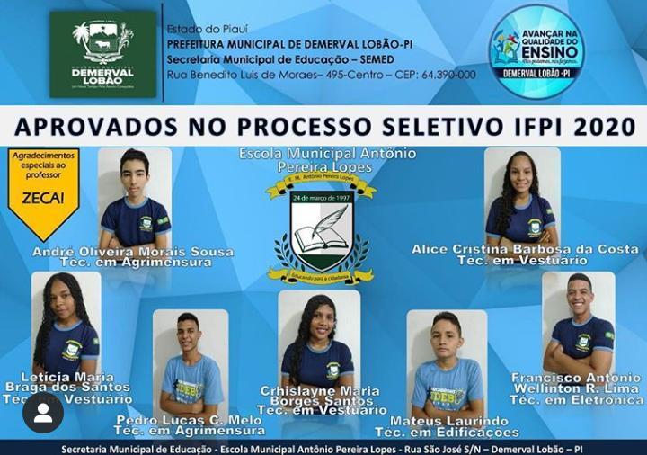 Prefeitura de Demerval Lobão parabeniza os alunos aprovados no IFPI 2020