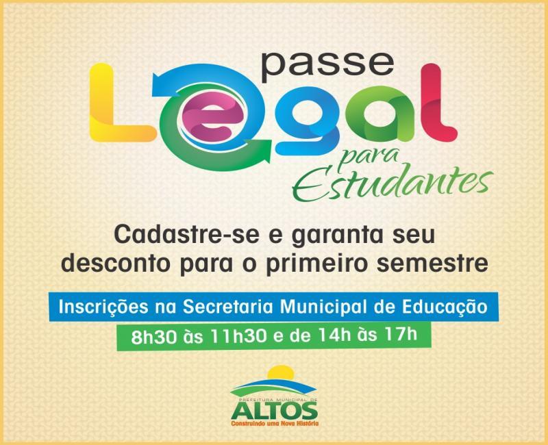 Cadastro do Passe Legal em Altos começa no dia 27 de janeiro