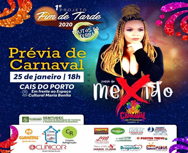 Projeto Fim de Tarde retorna com 1ª prévia de Carnaval, neste sábado, 25