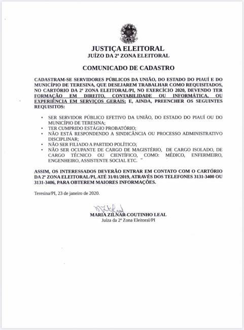 Justiça Eleitoral abre cadastro para servidores atuarem em cartório