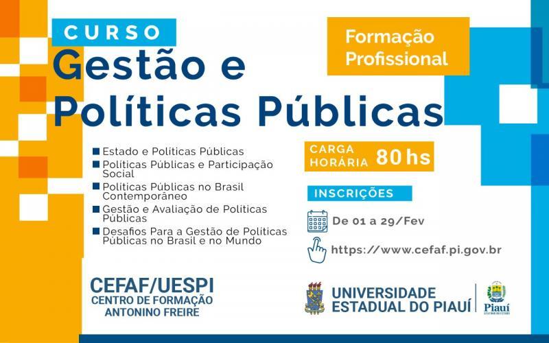 CEFAF realizará o curso de Gestão e Políticas Públicas à distância