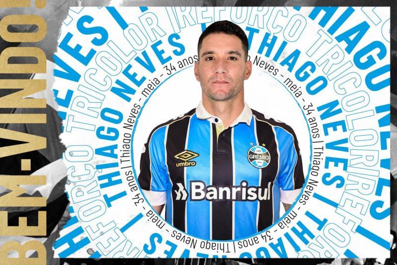 Grêmio anuncia contratação do meia Thiago Neves por uma temporada