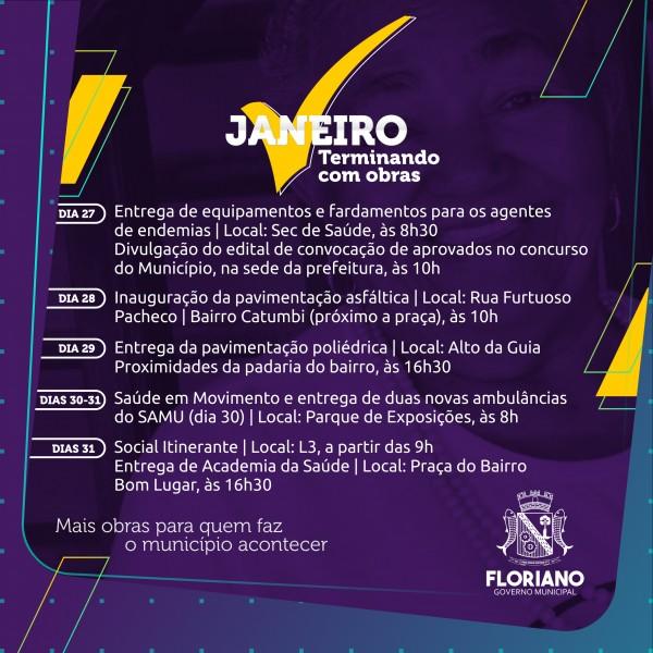 Prefeitura de Floriano fecha janeiro com inauguração de obras