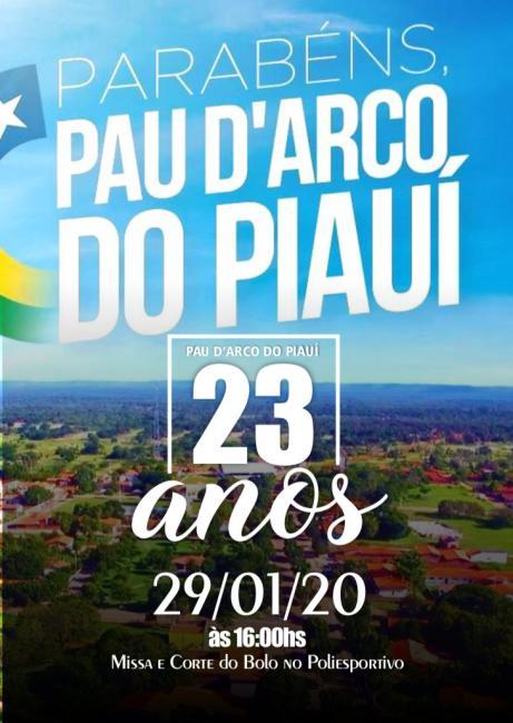 Pau D'arco do PI faz 23 anos de emancipação política dia 29/01