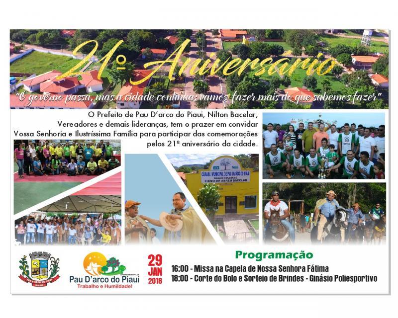 Pau D'arco comemora 21 anos de emancipação na segunda-feira