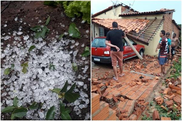Chuva de granizo provoca estragos em cidade do Piauí