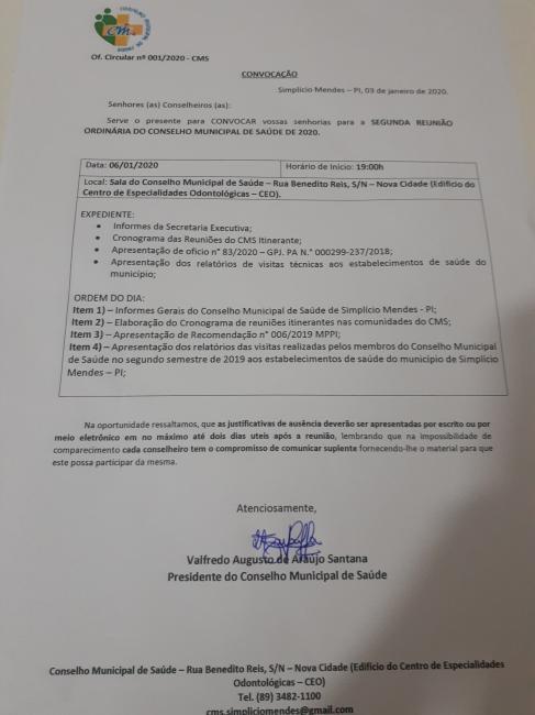 Simplício Mendes   CMS convida para a 2ª Reunião Ordinária do ano 2020