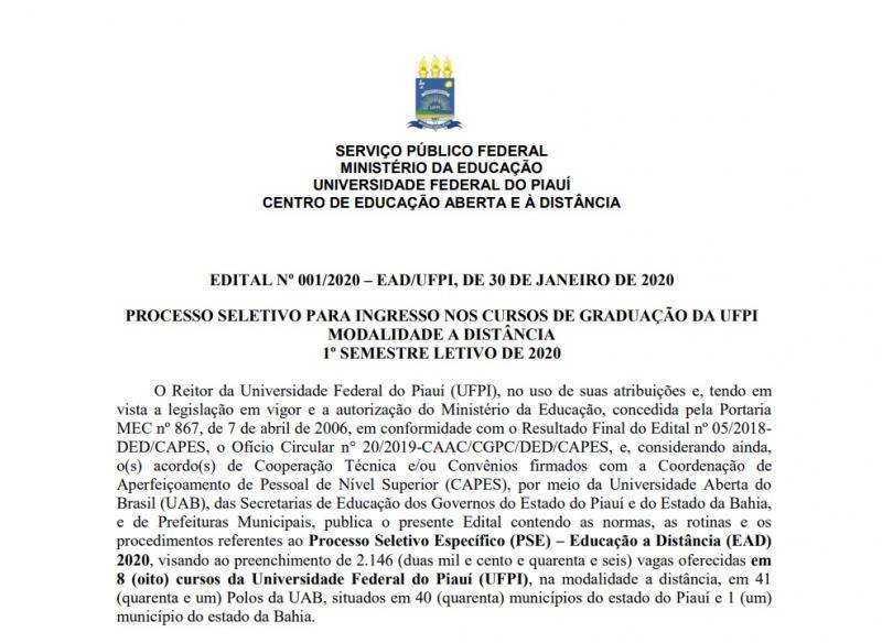 UFPI oferta 80 vagas para curso EAD em Simplício Mendes