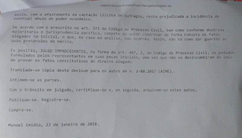 Pedidos de cassação da prefeita Doquinha e vice Gracinha foram julgados improcedentes