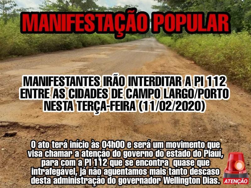 Manifestantes interditarão PI-112 nesta madrugada de terça-feira (11/02)