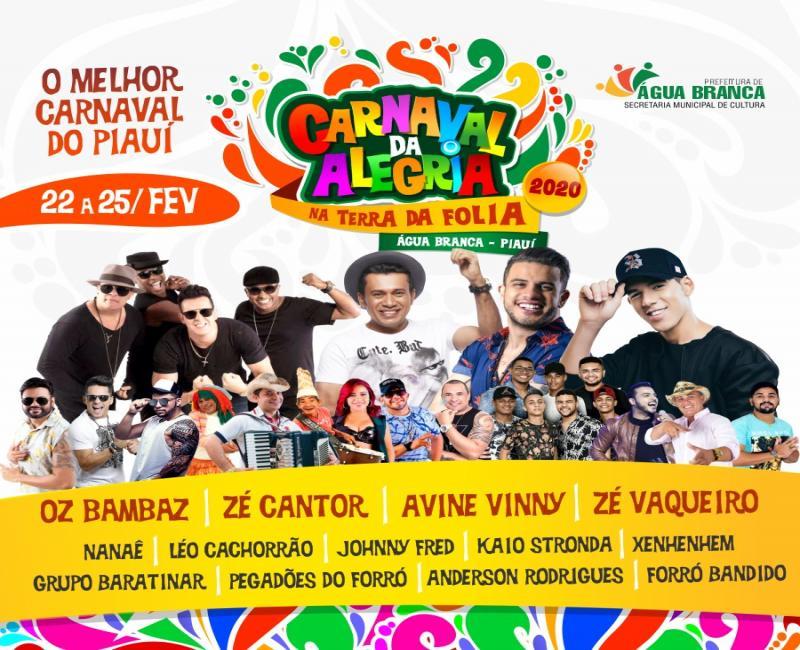 Água Branca divulga atrações do Carnaval 2020
