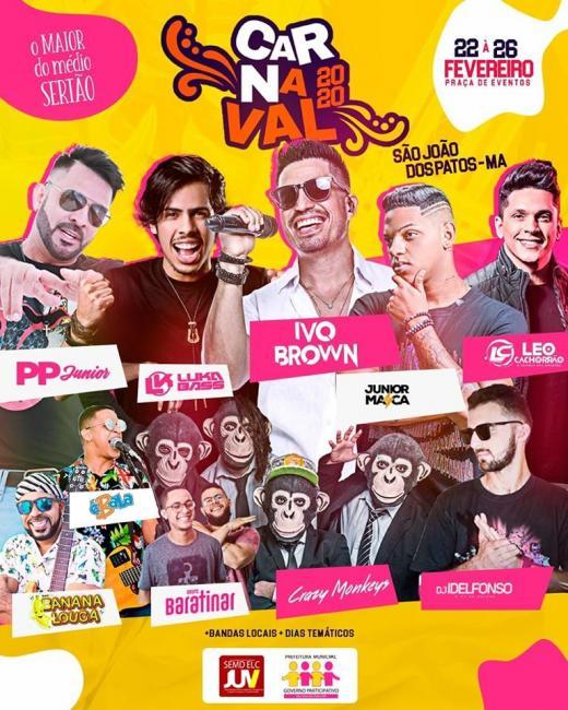 Atrações confirmada para o carnaval patoense 2020