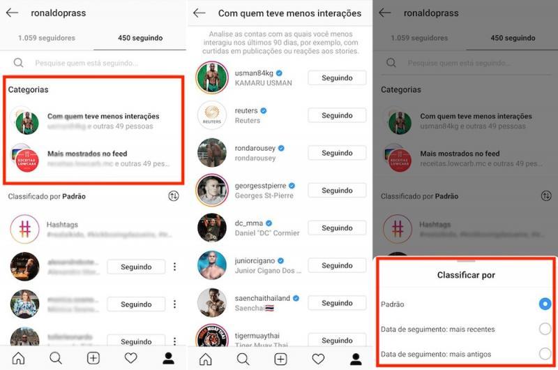 Instagram libera opção de visualizar contas com interação menos frequente