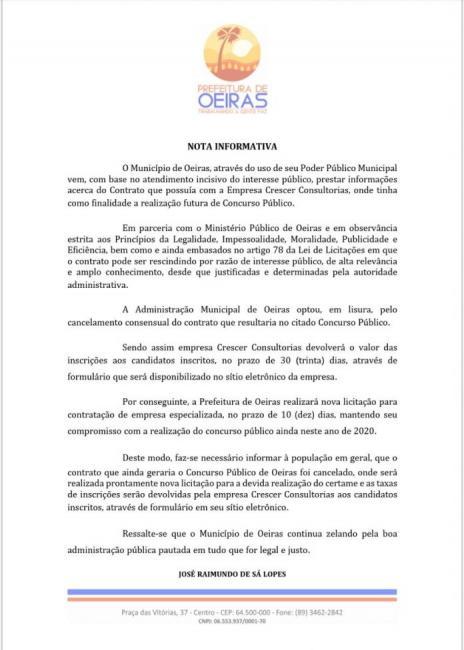 Oeiras mantém concurso público e abrirá contratação de nova empresa