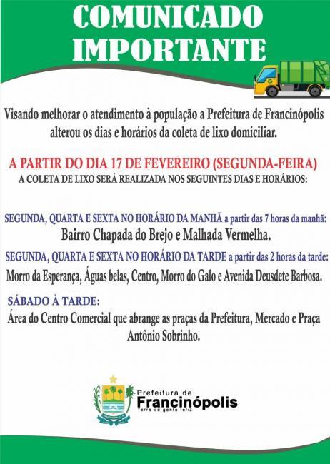 Prefeitura altera dias e horários da coleta de lixo em Francinópolis