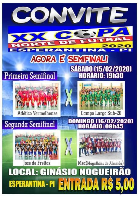 Disputa das semi finais da XX Copa Norte de Futsal 2020 em Esperantina-PI