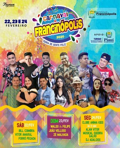 Prefeitura de Francinópolis divulga programação do Carnaval 2020