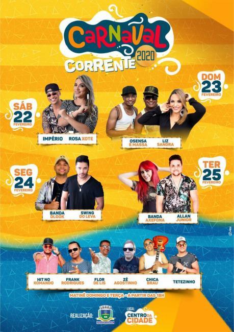 Prefeitura divulga programação completa do Carnaval 2020 em Corrente