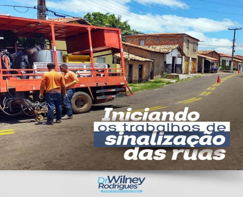 Sinalização melhora segurança nas vias de Santa Cruz dos Milagres