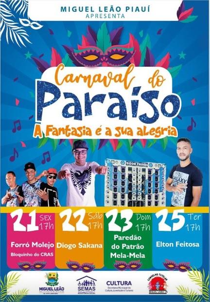 Prefeitura divulga programação do Carnaval 2020 em Miguel Leão