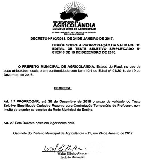 Prefeito prorroga a validade do teste seletivo até 30 de dezembro