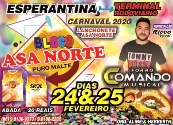 Venha curtir o carnaval do Restaurante e Pizzaria Asa Norte dias 24 e 25/02