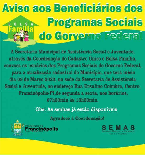 Comunicado aos beneficiários dos programas sociais do Governo Federal