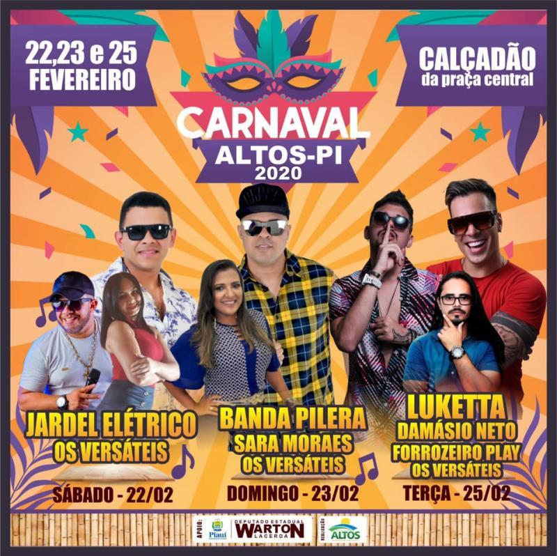 Prefeitura de Altos divulga programação completa do Carnaval 2020
