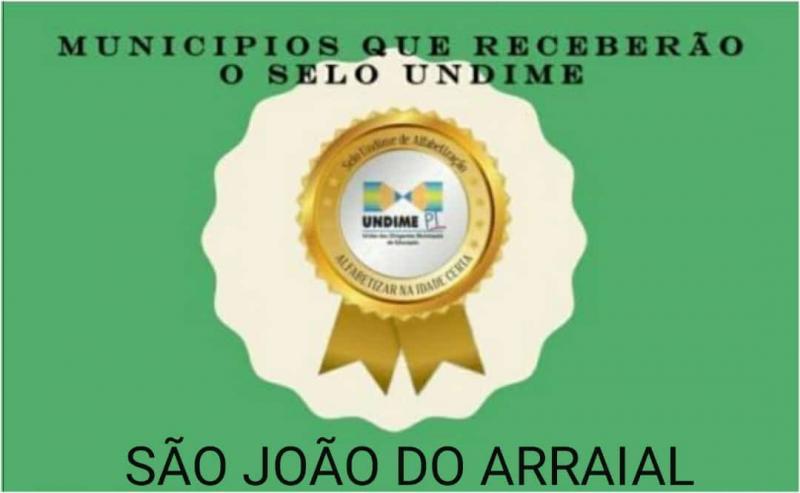 Município de São João do Arraial conquista selo da UNDIME
