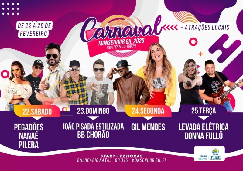 Confira a programação completa de Carnaval 2020 em Monsenhor Gil