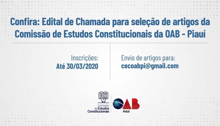 OAB Piauí divulga edital de chamada para seleção de artigos