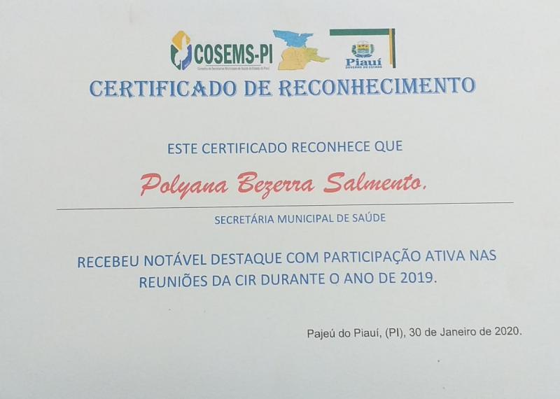 Secretária de Saúde de Landri Sales recebe certificado de assiduidade