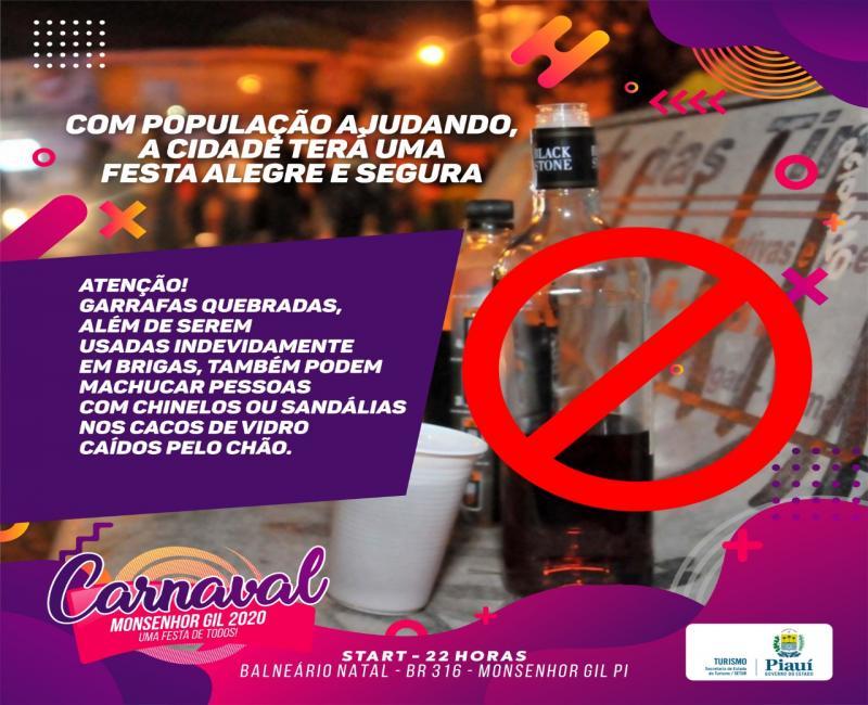 Monsenhor Gil faz campanha para evitar garrafas de vidro no Carnaval