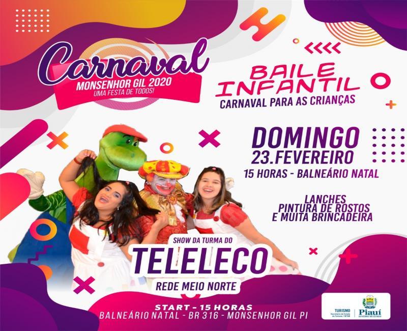 Monsenhor Gil realizará baile infantil com a turma do Teleleco