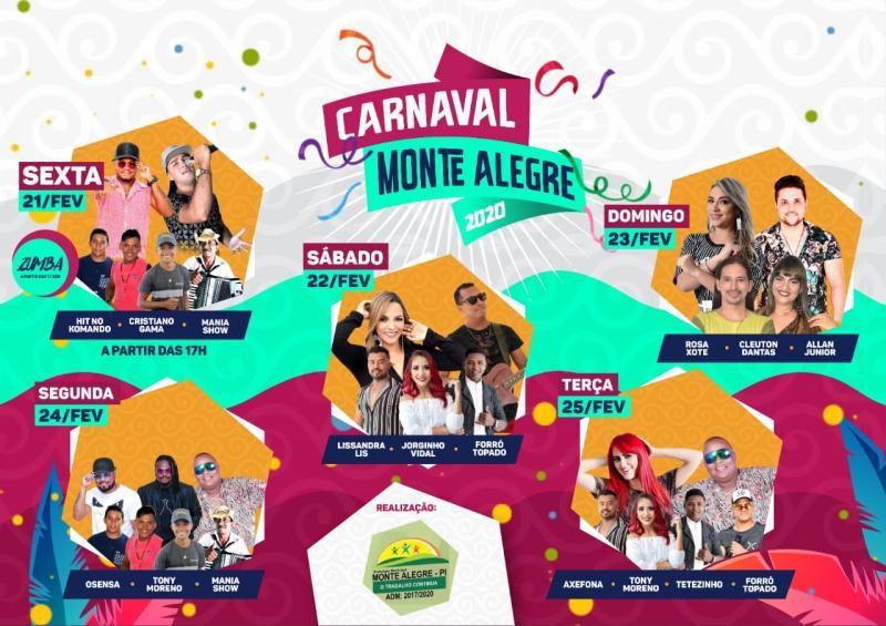Confira a programação do Carnaval de Monte Alegre